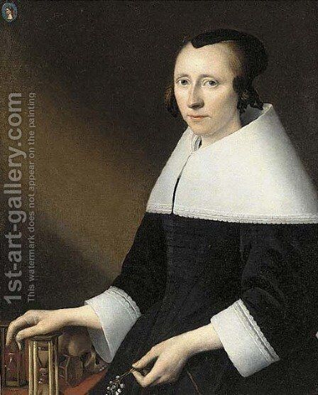 Portrait of a lady, aged 38, half-length, in a black dress with a white falling collar and cuffs, a medallion of a man, bust-length by Anthonie Palamedesz. (Stevaerts, Stevens) - Reproduction Oil Painting