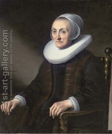 Portrait of a lady, seated half-length, wearing a black dress with a lace ruff by Anthonie Palamedesz. (Stevaerts, Stevens) - Reproduction Oil Painting