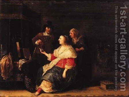 A gentleman offering a piece of jewelery to a woman in interior by Anthonie Palamedesz. (Stevaerts, Stevens) - Reproduction Oil Painting