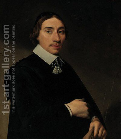 Portrait of a gentleman, aged twenty-eight, half-length, in a black gown and a black skull cap, his coat in his left hand by Anthonie Palamedesz. (Stevaerts, Stevens) - Reproduction Oil Painting