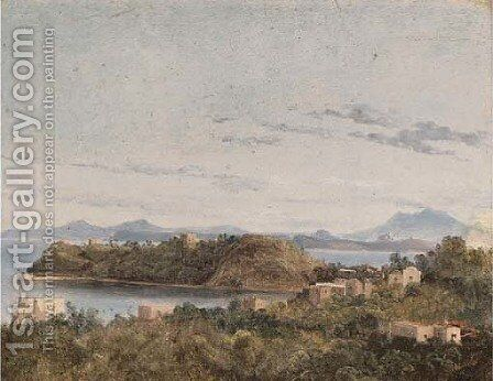 Ischia and Capri seen from the Neapolitan coast by Anthonie Sminck Pitloo - Reproduction Oil Painting