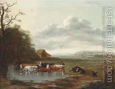 An extensive landscape with a herdsman and cattle by Anthonie Van Borssom - Reproduction Oil Painting