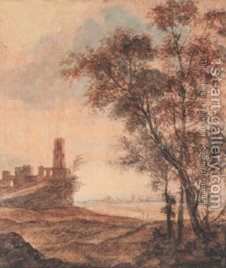 A hilly landscape with a ruin on a hill, trees in the foreground by Anthonie Waterloo - Reproduction Oil Painting