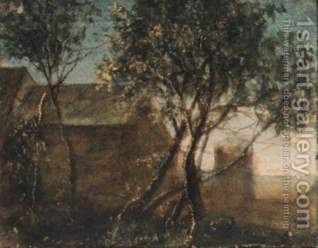 Trees by a house by Anthonie Waterloo - Reproduction Oil Painting