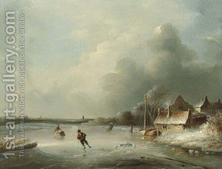 A frozen waterway with figures skating by Anthony Andreas De Meijier - Reproduction Oil Painting