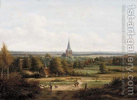 A panoramic view of a valley with a village in the foreground by Anthony Andreas De Meijier - Reproduction Oil Painting