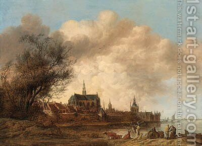 A view of Haarlem from the south-west, with the River Spaarne in the foreground by Anthony Jansz van der Croos - Reproduction Oil Painting