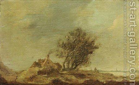 An extensive landscape with a cottage by a tree by Anthony Jansz van der Croos - Reproduction Oil Painting