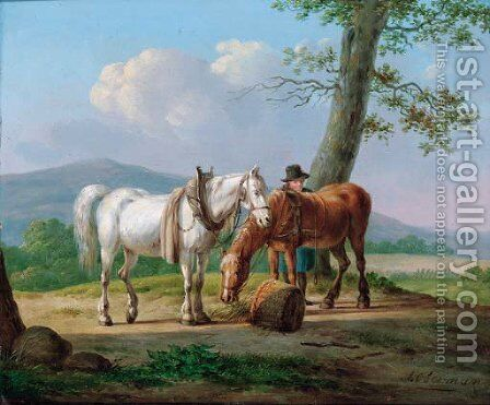 A farmhand with his horses by Anthony Oberman - Reproduction Oil Painting