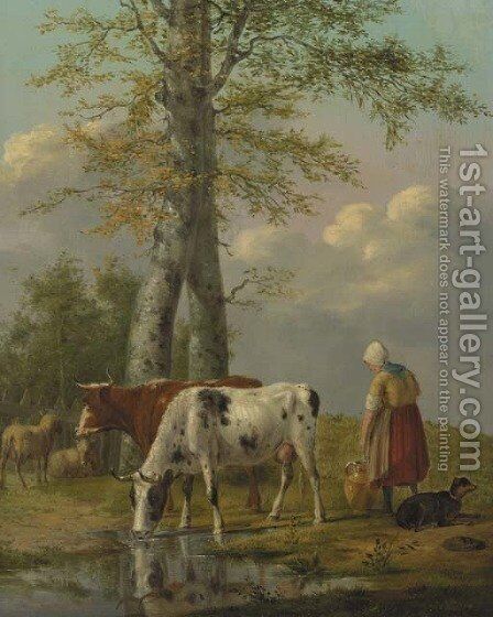 Milking time by Anthony Oberman - Reproduction Oil Painting