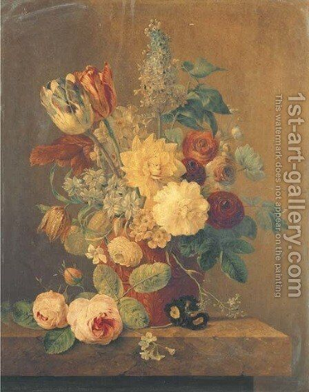 Parrot tulips, roses, morning glory, narcissi and other flowers in a terracotta pot on a marble ledge by Anthony Oberman - Reproduction Oil Painting
