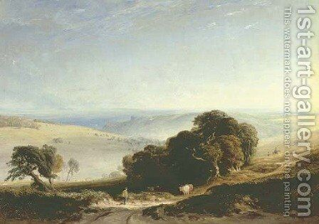 A view of the South Downs with a drover in the foreground, Arundel Castle beyond by Anthony Vandyke Copley Fielding - Reproduction Oil Painting
