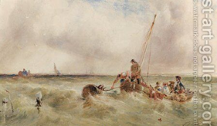 Fishing smacks and other vessels off the coast in a squall by Anthony Vandyke Copley Fielding - Reproduction Oil Painting