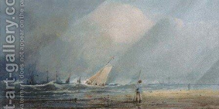 A fishing vessel heading out to sea in a squall by Anthony Vandyke Copley Fielding - Reproduction Oil Painting