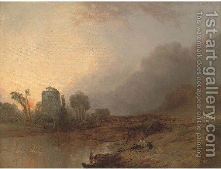 A rest by the wayside, sunset by Anthony Vandyke Copley Fielding - Reproduction Oil Painting