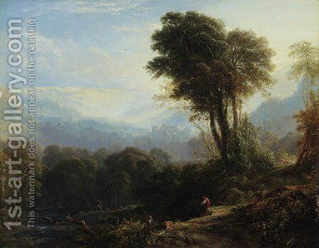 Distant view of Rievaulx Abbey, near Helmsley, Yorkshire by Anthony Vandyke Copley Fielding - Reproduction Oil Painting