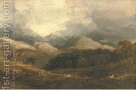 View from Pont Aberglaslyn looking west towards Moel Hebog and the Aberglaslyn woods, Caernarvanshire, north Wales by Anthony Vandyke Copley Fielding - Reproduction Oil Painting