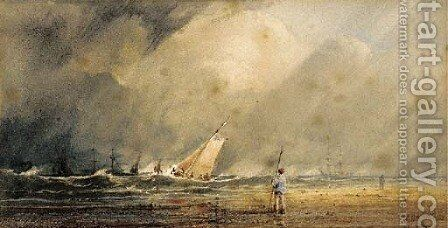 A figure standing on a beach with shipping beyond by Anthony Vandyke Copley Fielding - Reproduction Oil Painting