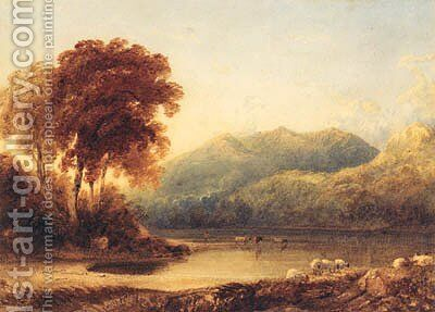 A Herder with Cattle at the Edge of a Lake in a mountainous Landscape by Anthony Vandyke Copley Fielding - Reproduction Oil Painting
