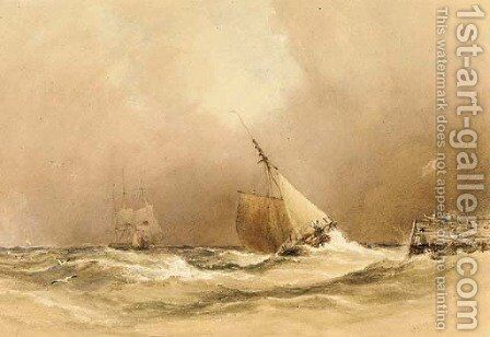 A stiff breeze by Anthony Vandyke Copley Fielding - Reproduction Oil Painting
