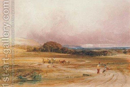 An extensive landscape with a hay-cart and figures in the foreground by Anthony Vandyke Copley Fielding - Reproduction Oil Painting