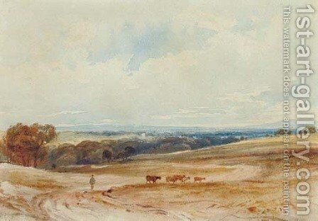 An extensive landscape with cattle and a drover by Anthony Vandyke Copley Fielding - Reproduction Oil Painting