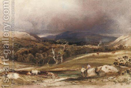 An extensive landscape with cattle and figures in the foreground by Anthony Vandyke Copley Fielding - Reproduction Oil Painting