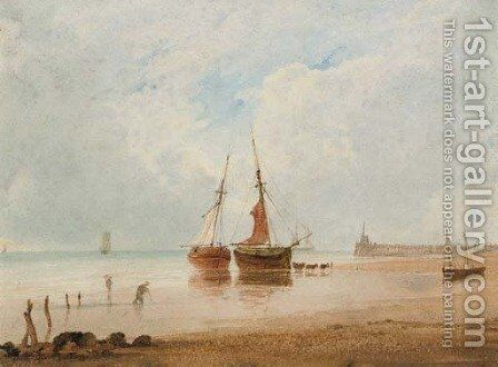 Beached fishing vessels at low tide by Anthony Vandyke Copley Fielding - Reproduction Oil Painting