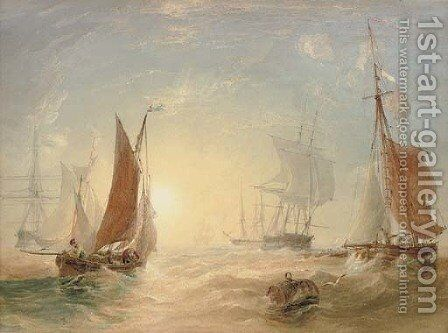 Crowded waters at dusk by Anthony Vandyke Copley Fielding - Reproduction Oil Painting