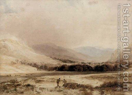 Figures conversing in a highland landscape by Anthony Vandyke Copley Fielding - Reproduction Oil Painting
