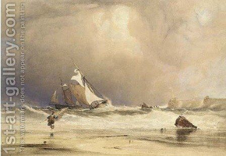 Fishing boats in a stiff breeze, off shore by Anthony Vandyke Copley Fielding - Reproduction Oil Painting