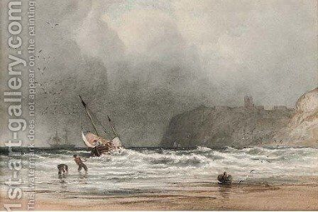 Hauling in the fishing boat onto the shore by Anthony Vandyke Copley Fielding - Reproduction Oil Painting