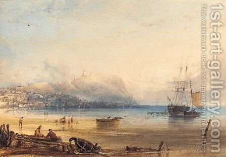 Scarborough, with a boat being vitalled in the harbour by Anthony Vandyke Copley Fielding - Reproduction Oil Painting