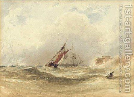 Shipping in rough seas by Anthony Vandyke Copley Fielding - Reproduction Oil Painting