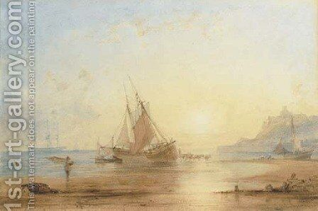 Unloading the catch, Whitby by Anthony Vandyke Copley Fielding - Reproduction Oil Painting