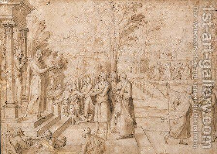 Figures imploring a Priest on the Steps of a Temple by Antoine Caron - Reproduction Oil Painting