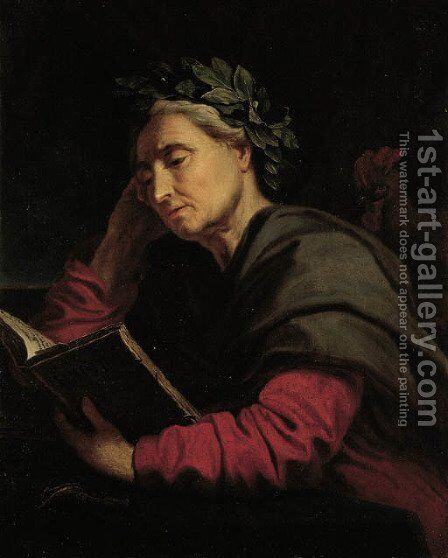 Asclepius, the god of healing and medicine, seated half-length at a table, reading a book by Antoine de Favray - Reproduction Oil Painting