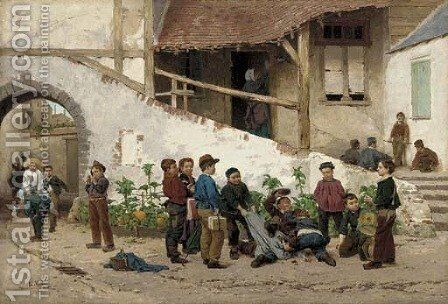 After School Antics by Antoine Edouard Joseph Moulinet - Reproduction Oil Painting