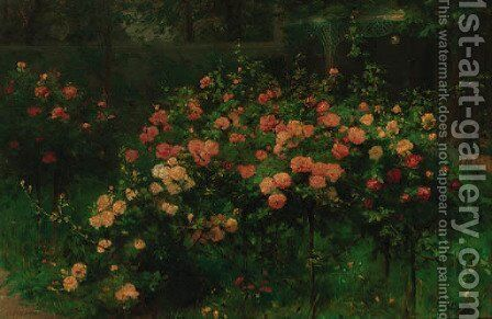 The rose garden by Antoine Grivolas - Reproduction Oil Painting