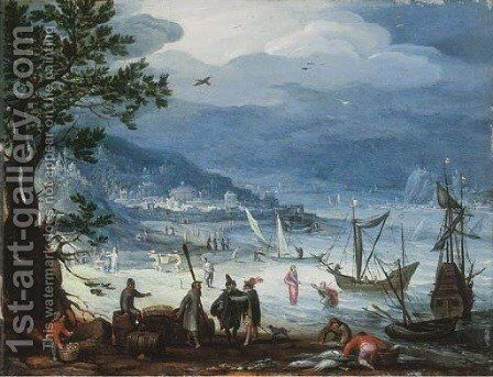 A coastal landscape with fishing boats and peasants disembarking, the Calling of Saint Peter beyond by Anthonie Mirou - Reproduction Oil Painting