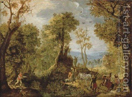 Hunters in a wooded landscape with a village and an extensive landscape beyond by Anthonie Mirou - Reproduction Oil Painting