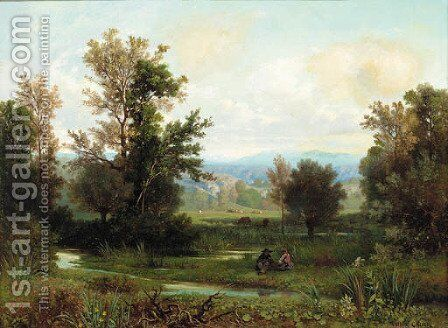 A couple seated on a riverbank with the Alps beyond by Antoine Ponthus-Cinier - Reproduction Oil Painting