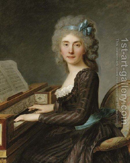Portrait of Mademoiselle Rouille, three-quarter-length, at the pianoforte by Antoine Vestier - Reproduction Oil Painting
