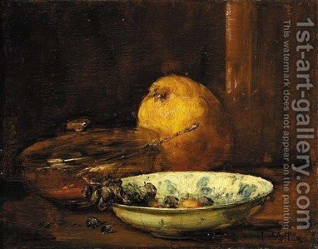 A bowl of raisins, a pear and a covered bowl by Antoine Vollon - Reproduction Oil Painting