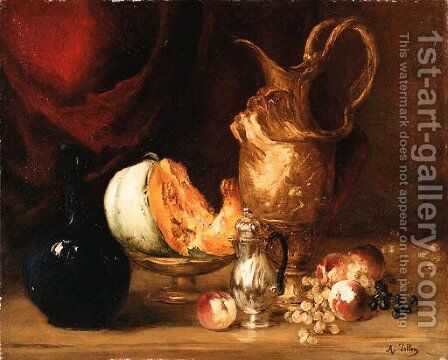 Still life of fruit and vessels before a draped curtain by Antoine Vollon - Reproduction Oil Painting