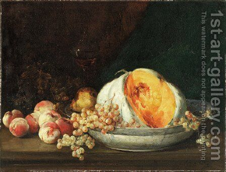 Still life of fruit in an interior by Antoine Vollon - Reproduction Oil Painting