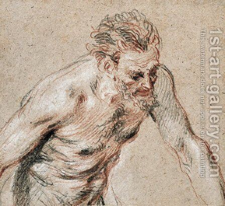 A satyr, half-length, leaning forward to the right by Jean-Antoine Watteau - Reproduction Oil Painting