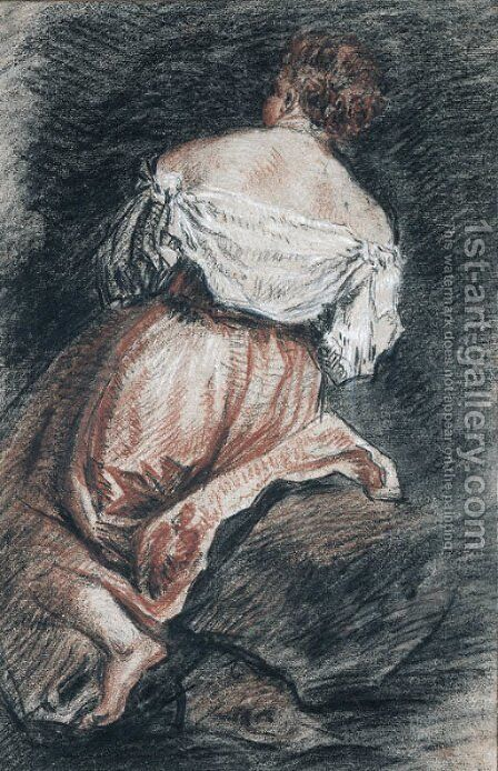 A seated woman seen from behind, after Bassano by Jean-Antoine Watteau - Reproduction Oil Painting