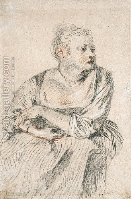 A seated woman with a generous dcollet, her arms folded on her lap, looking to the right by Jean-Antoine Watteau - Reproduction Oil Painting