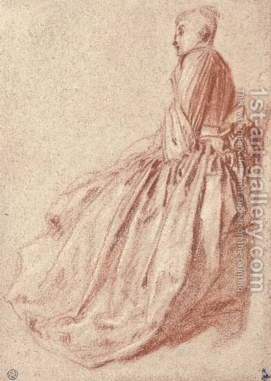 A woman in a long dress, seated in profile to the left by Jean-Antoine Watteau - Reproduction Oil Painting